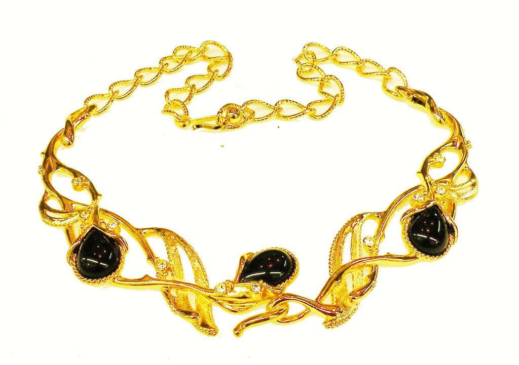 BARRERA for Avon Black Cabochon and Rhinestone Leafy Entwined Branch Necklace