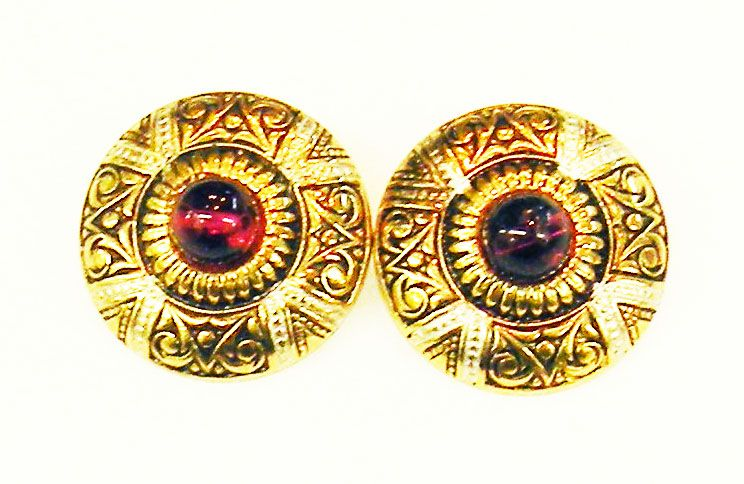 SPAIN Damascene Button Earrings with Ruby Colored Cabochon Glass Stone
