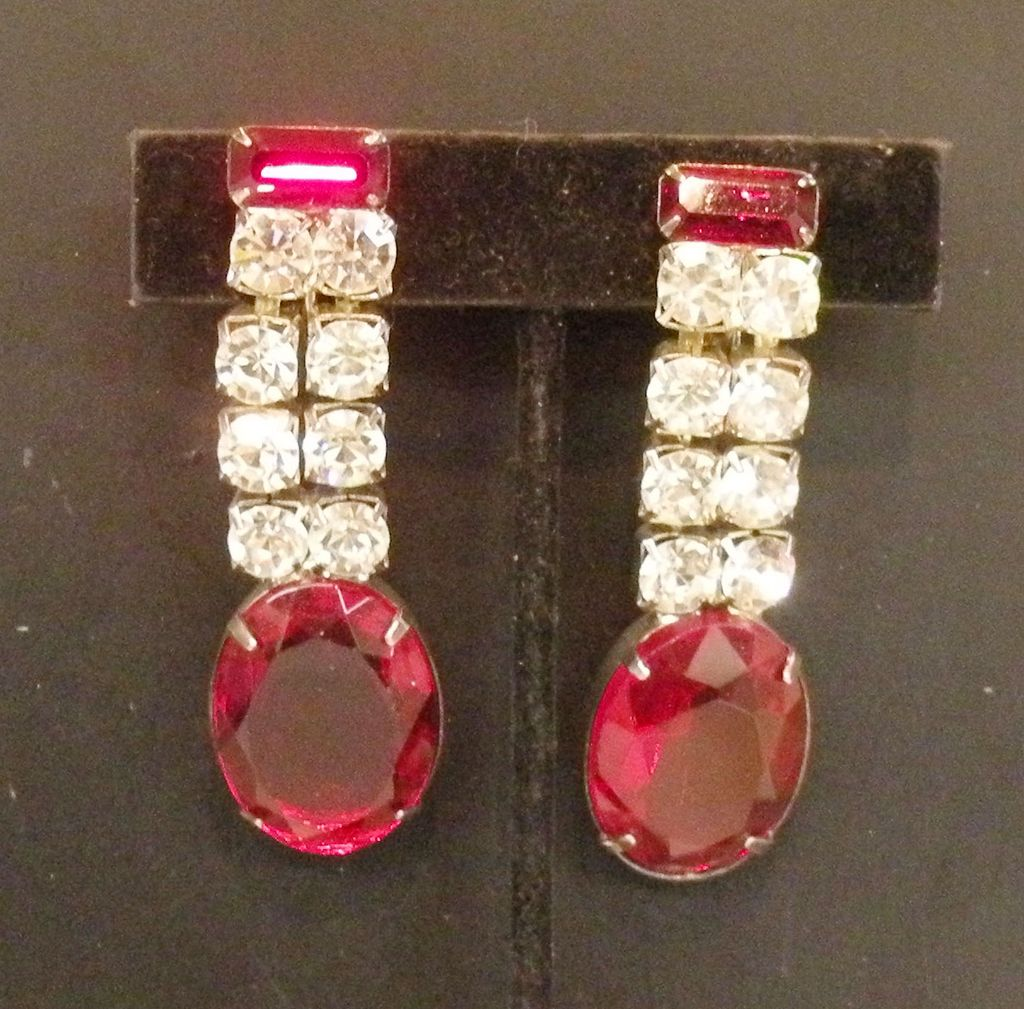 Night on the Town Red and Clear Rhinestone Hinged Screw Back Earrings