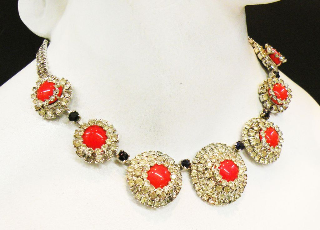HOBE 1965 Tangerine and Clear Rhinestone Shaped Modernist Necklace