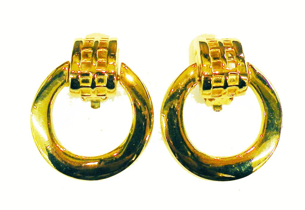 GIVENCHY Gold Tone Metal Drop Huggy Hoop Earrings with Grid Design