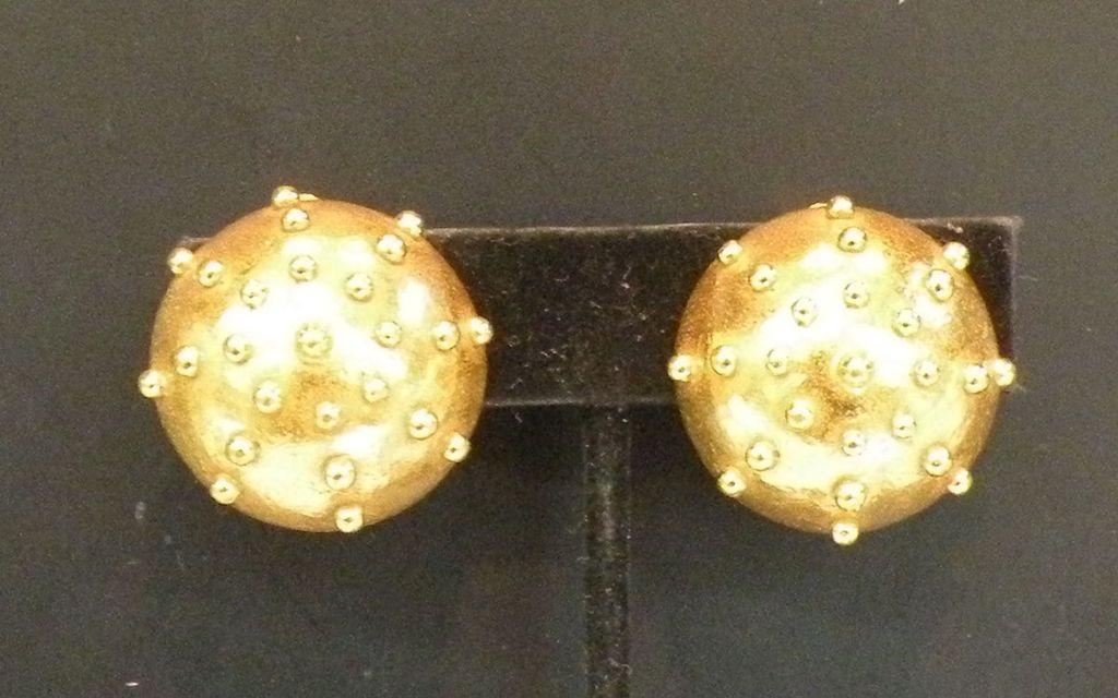 BILL SMITH for LAGUNA Modernist Sculptural Underwater Mine Gold Tone Earrings