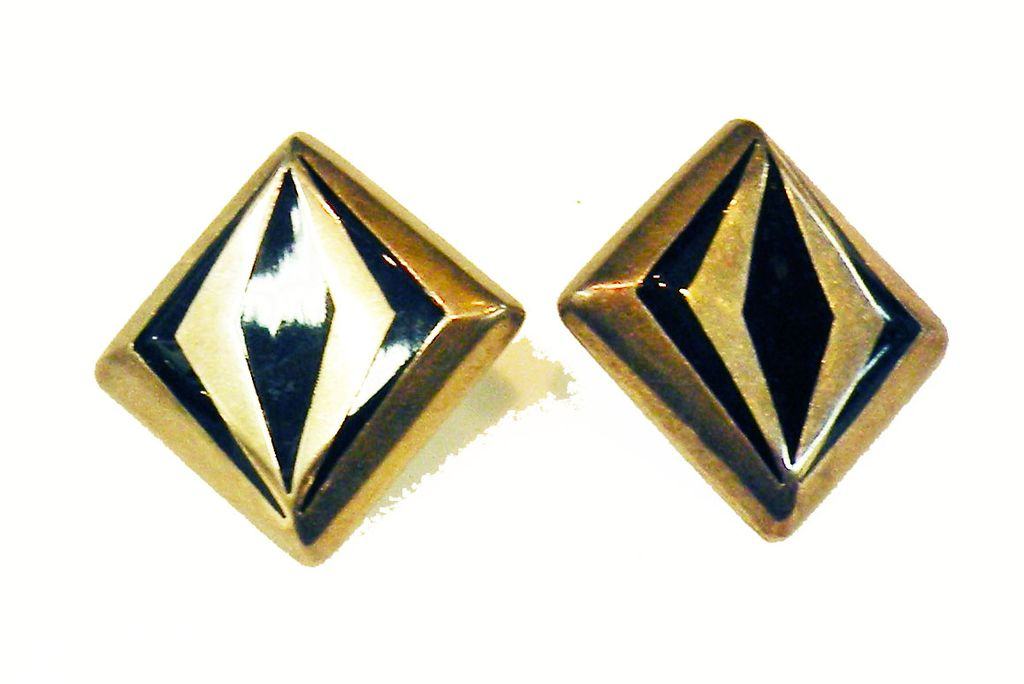Estate Modernist Inlay Enamel Mexican 925 Sterling Earrings