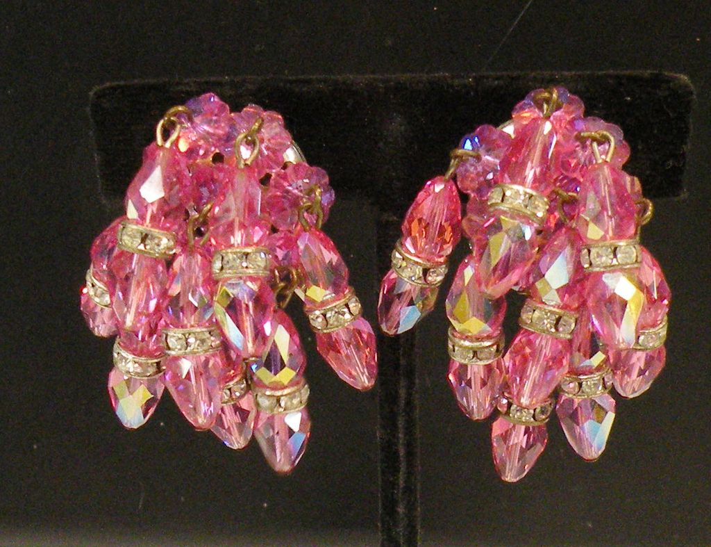 Incredible Pink and Rhinestone Rondelle Multi Cluster Dripping Earrings