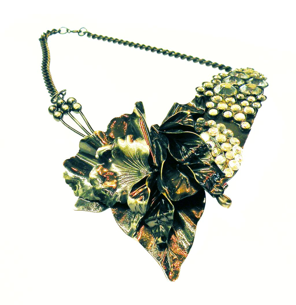 ALANA Made in Italy Gunmetal and Rhinestone Asymmetrical Flower Necklace