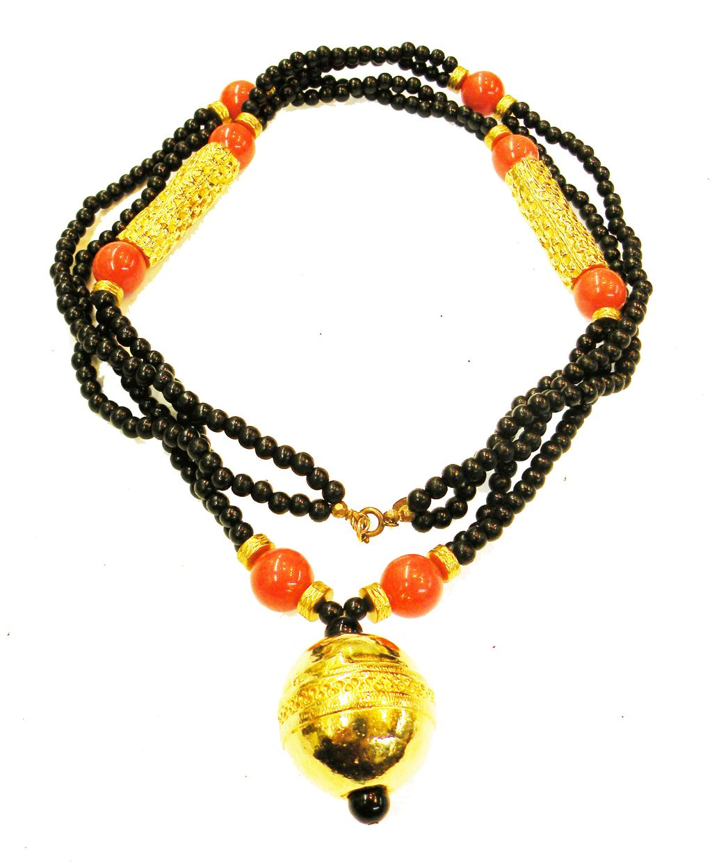 CADORO Black, Gold Tone and Coral Long Etruscan Revival Necklace