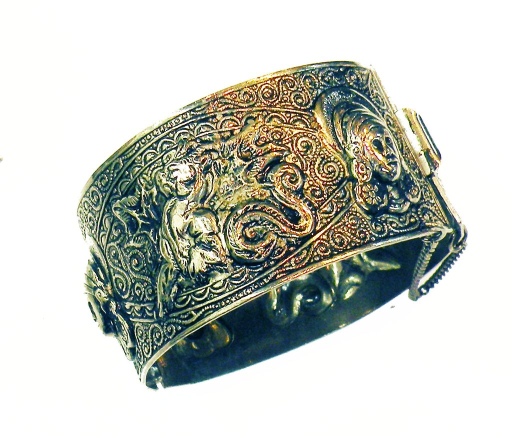 Dragon and Maiden Hammered and Scroll Work Filigree Hinged Clamper Cuff