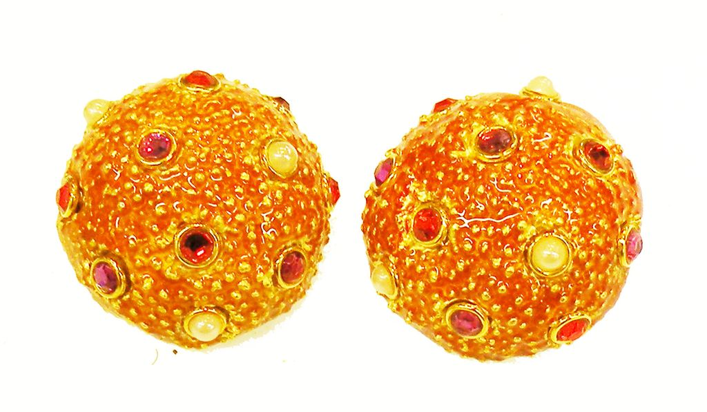 CRAFT Giant Coral Colored Domed Textured Earrings with Multi Color Stones