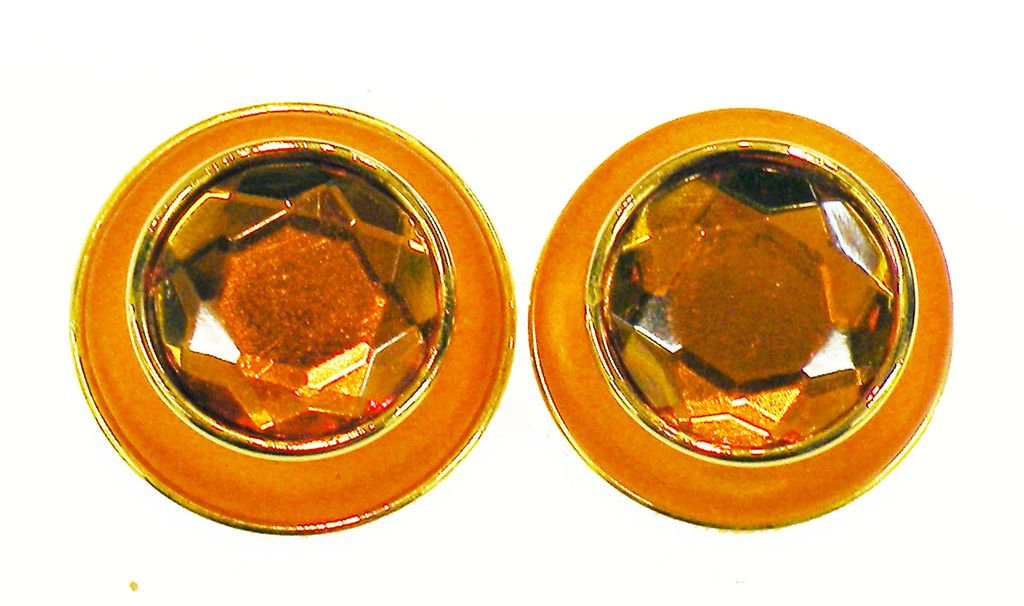 Tangerine Orange Faceted Rhinestone and Enamel Giant Button Earrings