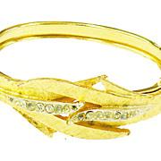 SCHRAGER Leafy Brushed Florentine Finish Hinged Cuff Bracelet with Rhinestones