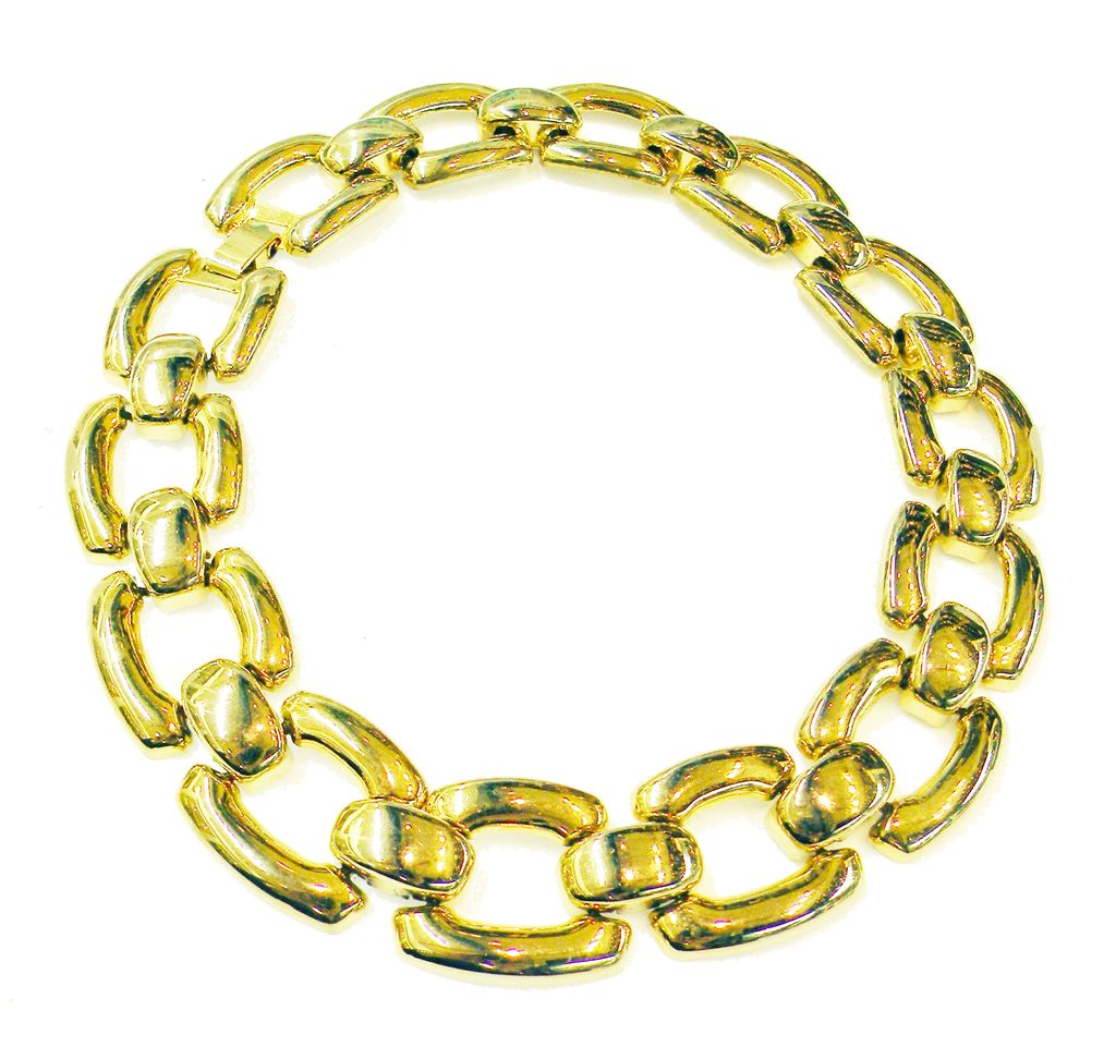 Rich Chunky Light Weight Gold Tone Metal Link Necklace