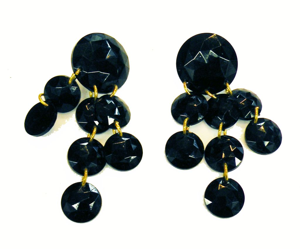 Black Faceted Plastic Disc Drippy Drop Earrings