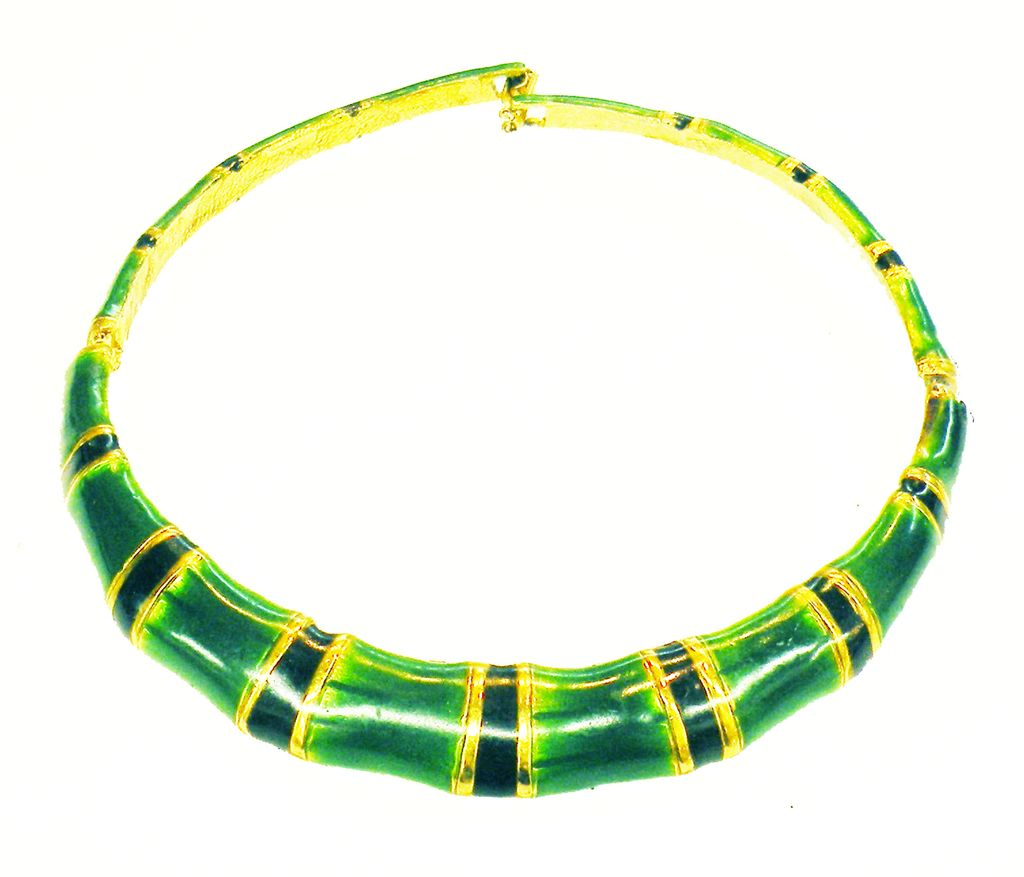 Palm Beach Green, Navy and Gold Tone Accent Enamel Rigid Hinged Collar Necklace
