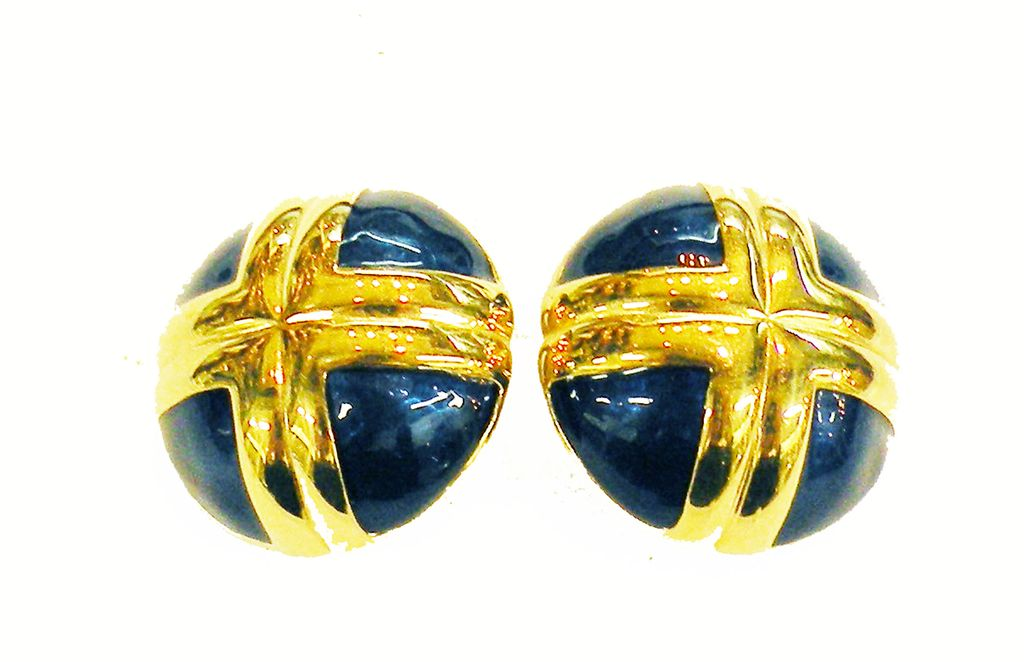 Classic Navy Enamel with Gold Metal Accent High Dome Button Earrings