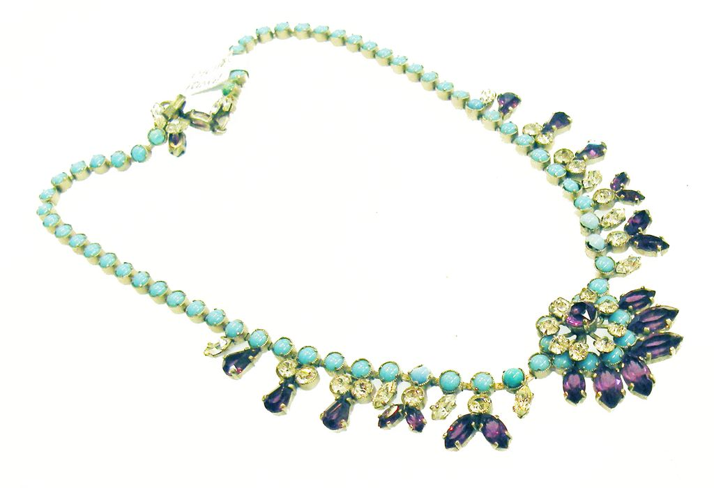 French Purple, Turq and Clear Rhinestone Lady Like Drop Necklace