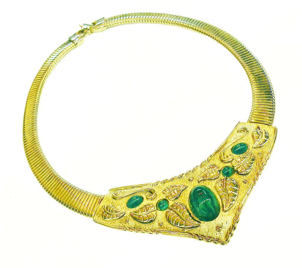 1970s Leafy Shield Snake Collar Necklace with Flawed Green Cabochons