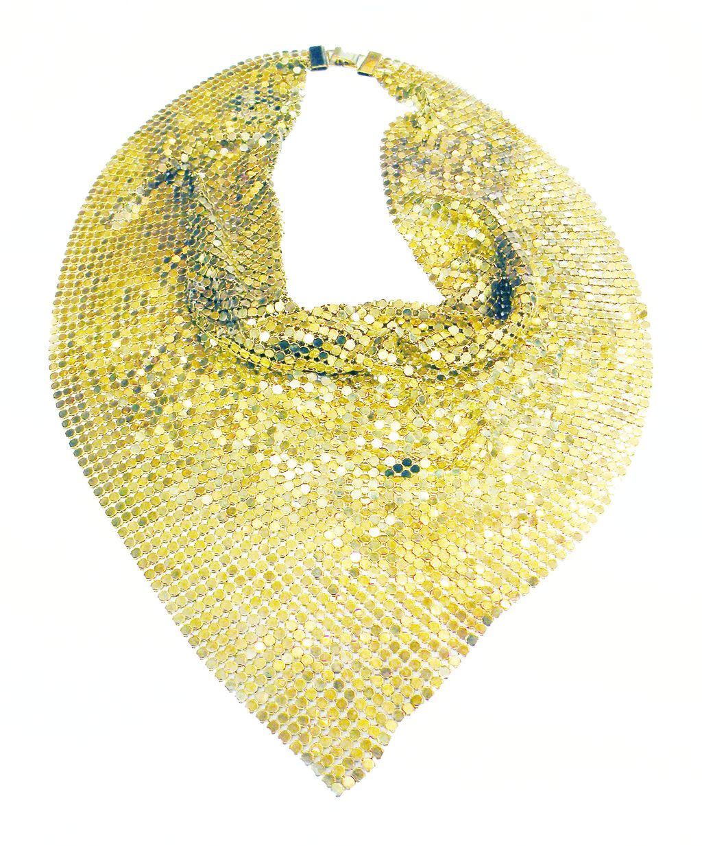 Sexy Slithering Slinky Gold Tone Mesh Triangular Necklace