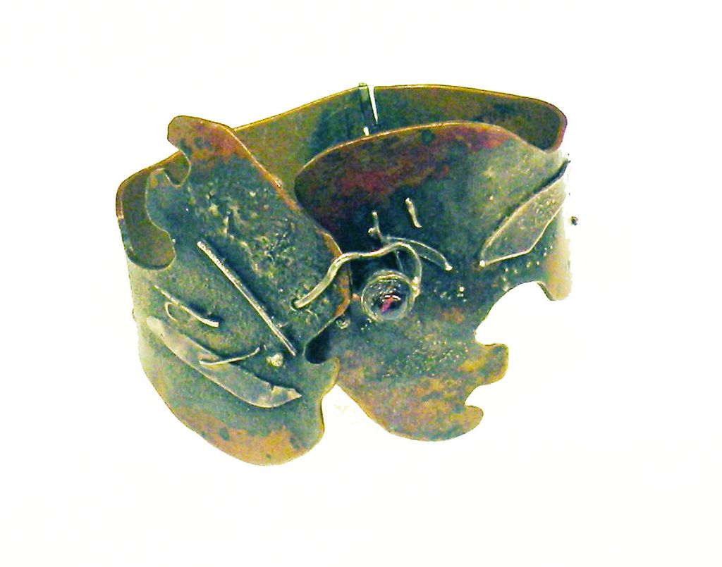 Brutalist Copper and Mixed Metal Studio Cuff with Red Cabochon