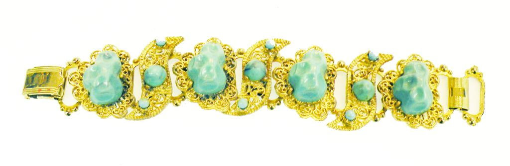 Turq Dragon Egg and Cabochon Filigree Station Bracelet with Double Roll Back