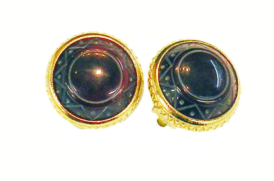 Dark Wine Aztec Inspired Etched Cabochon Earrings