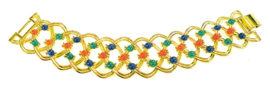 Wide Rich Mogul Colored Cabochon Articulated Link Bracelet