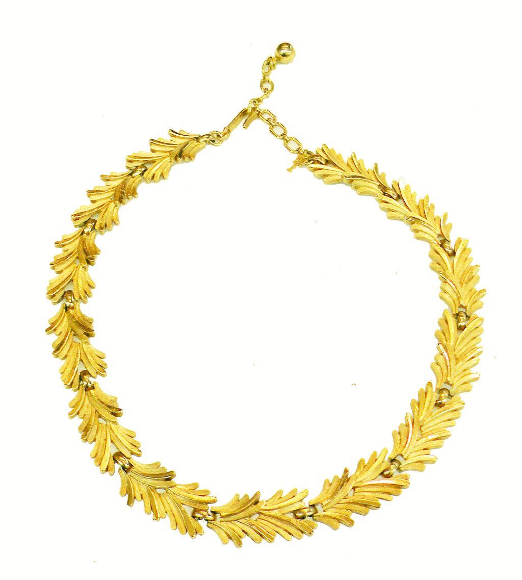 CROWN TRIFARI Florentine Finish Articulated Fern Leaf Mad Men Era Necklace