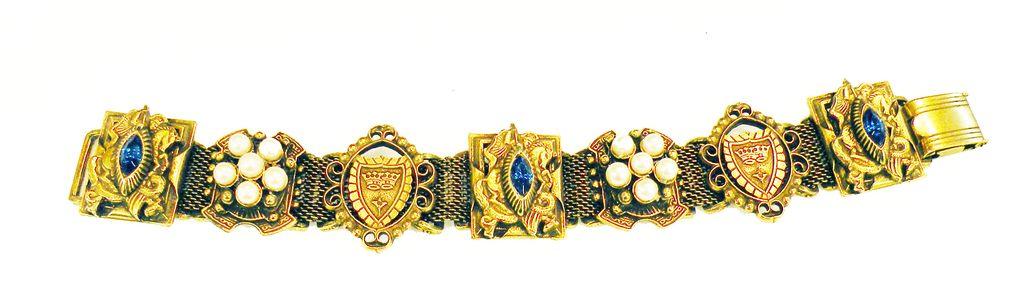 Heraldic Knights on Horses and Shields Medallion Shield Slide Bracelet on Mesh Base