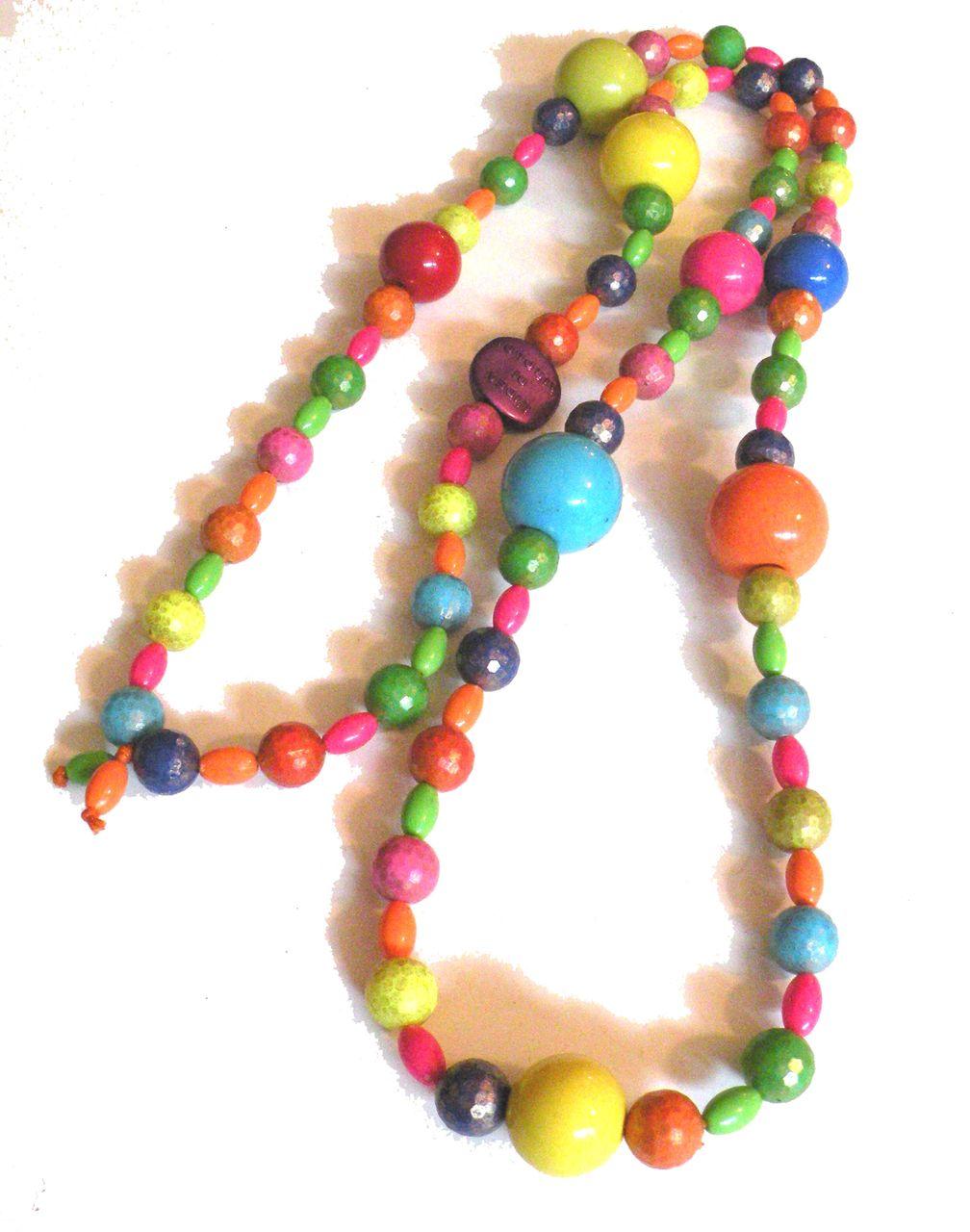 L'IDEA DI AIROLDI Made in Italy Brightly Colored Multi Bead Sautoir Necklace