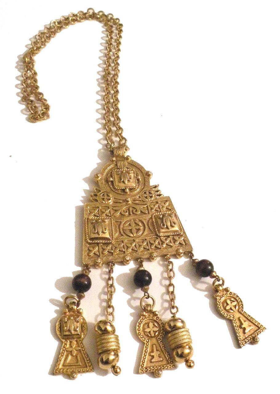 KJL Etruscan Revival Dimensional Etched Pendant with Dangling Symbols Necklace