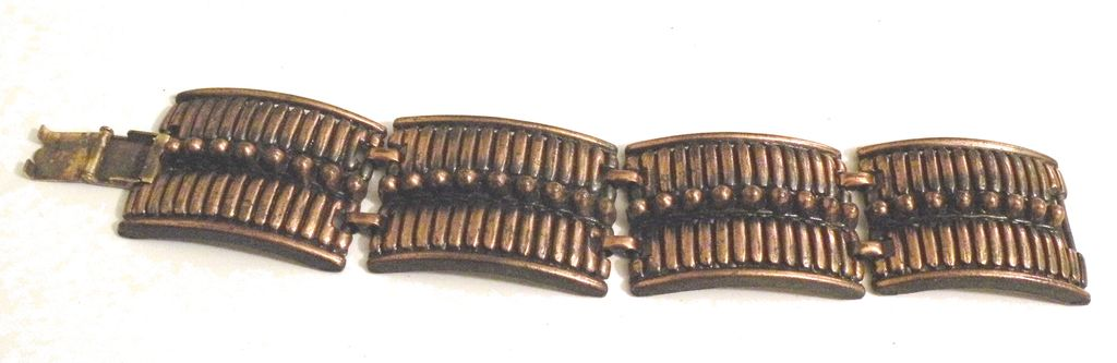 Copper Colored Bar and Ball Modernist Design Panel Bracelet