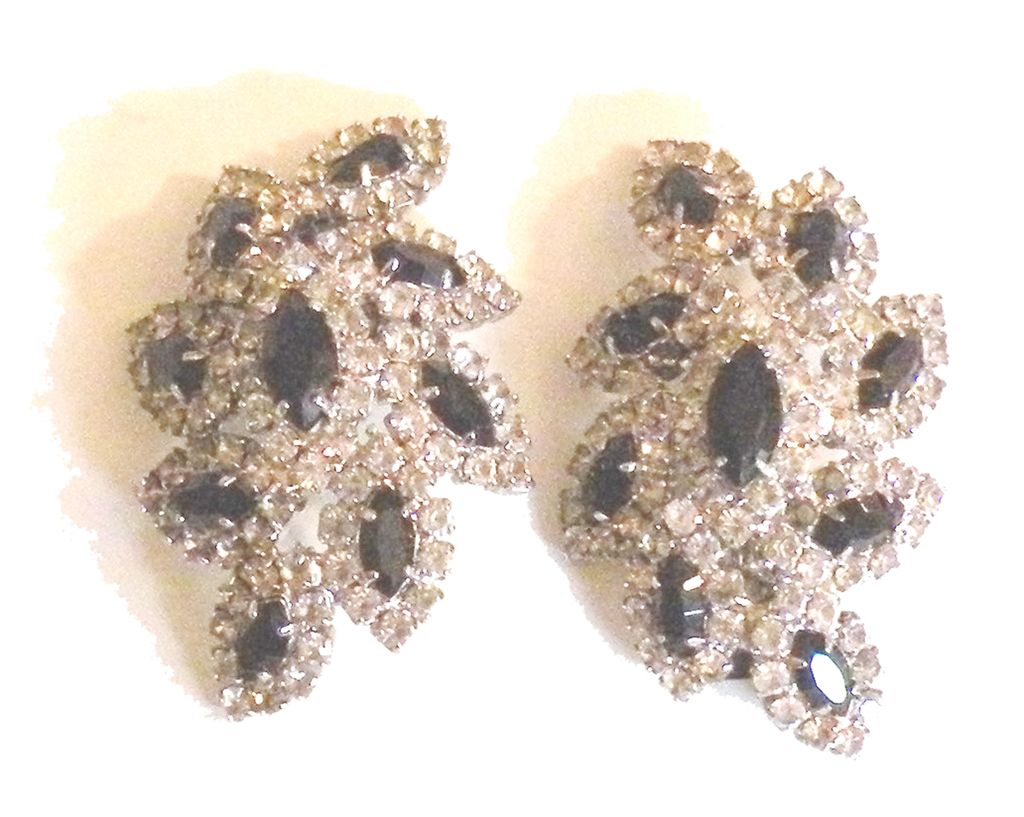KENNETH LANE Black and Clear Rhinestone Leafy Earrings