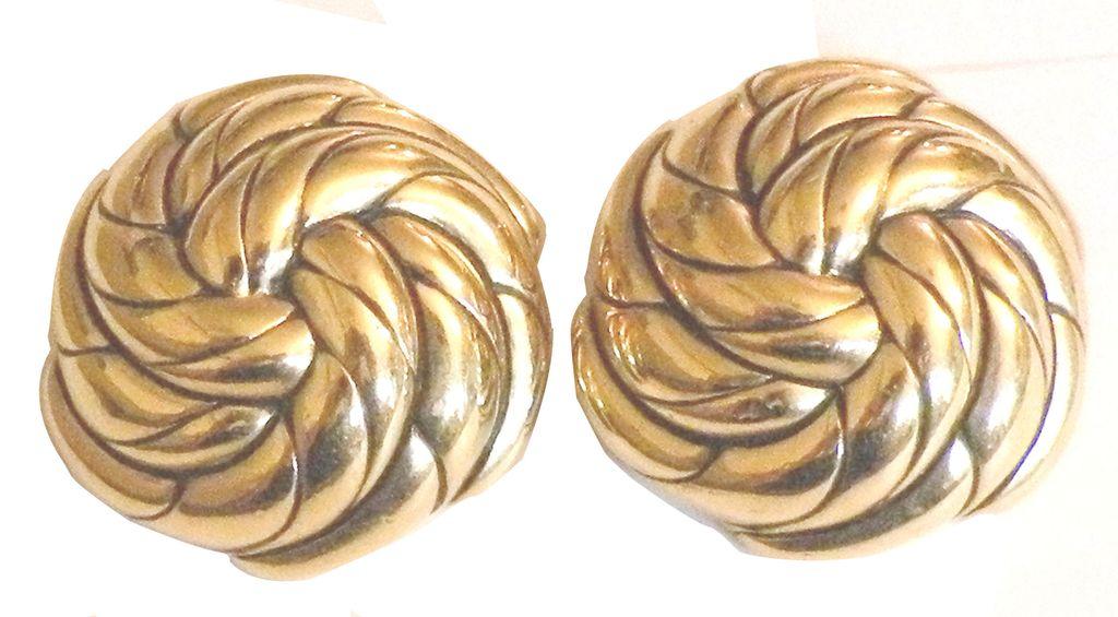 GOOSSENS PARIS Swirling Gold Tone Metal Design Earrings