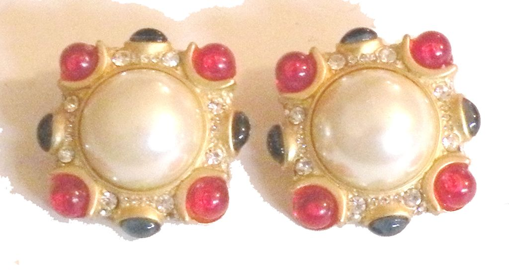 Blanca imitation pearl and red cabochon with pave rhinestone earrings