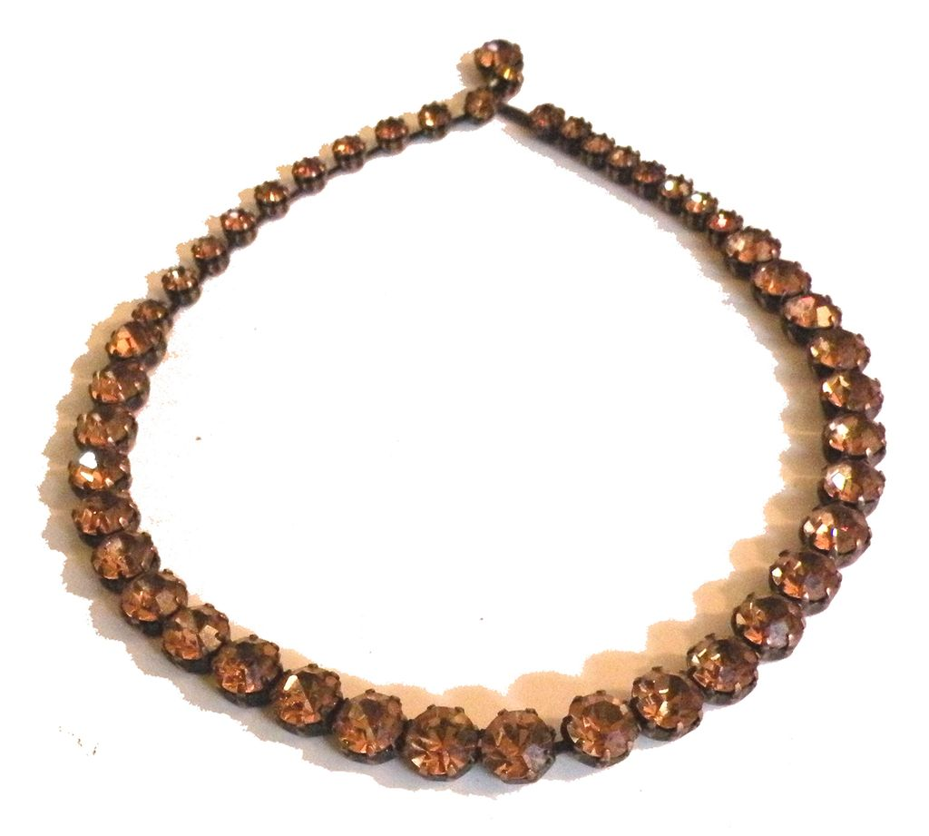 WEISS Unusual Colored Pinkish Amber Rhinestone Set in Copper Necklace
