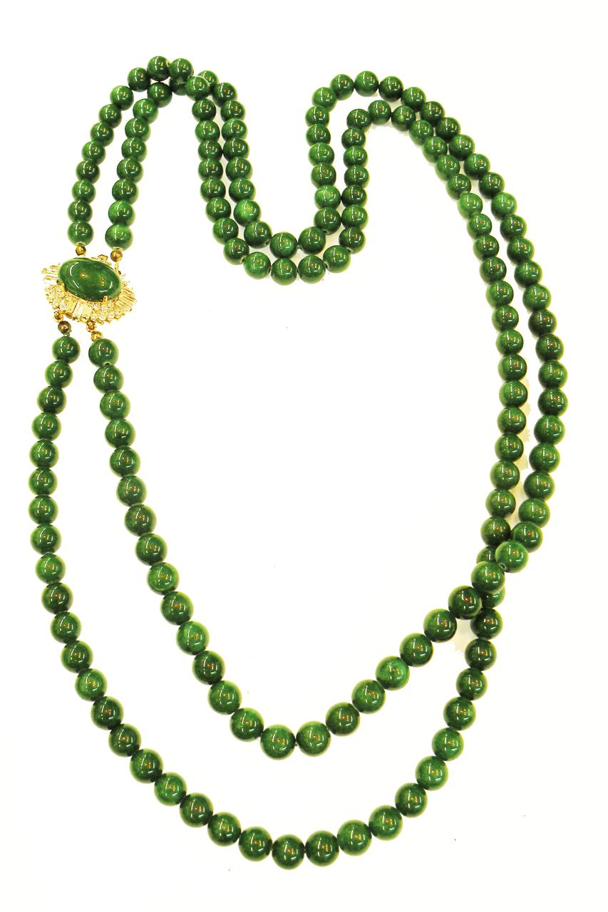Deep Gorgeous Green Double Strand Glass Necklace with Rhinestone and Cabochon Clasp