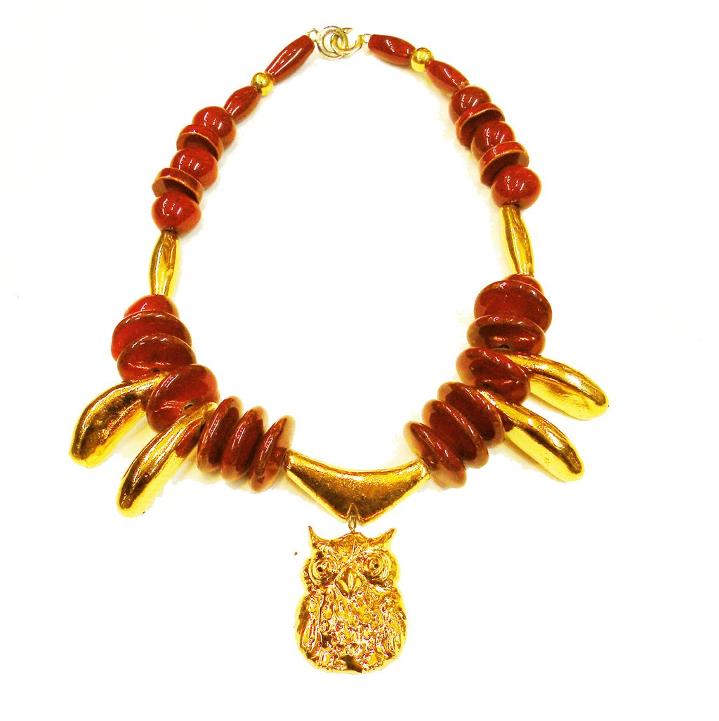 Wine Resin and Gold Tone Composite Bead Necklace with Owl Pendant