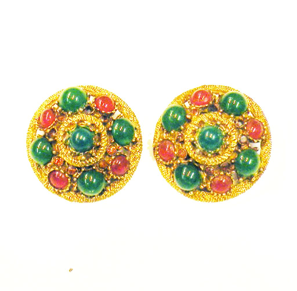 CAPRI Green and Rust Cabochon Domed Earrings
