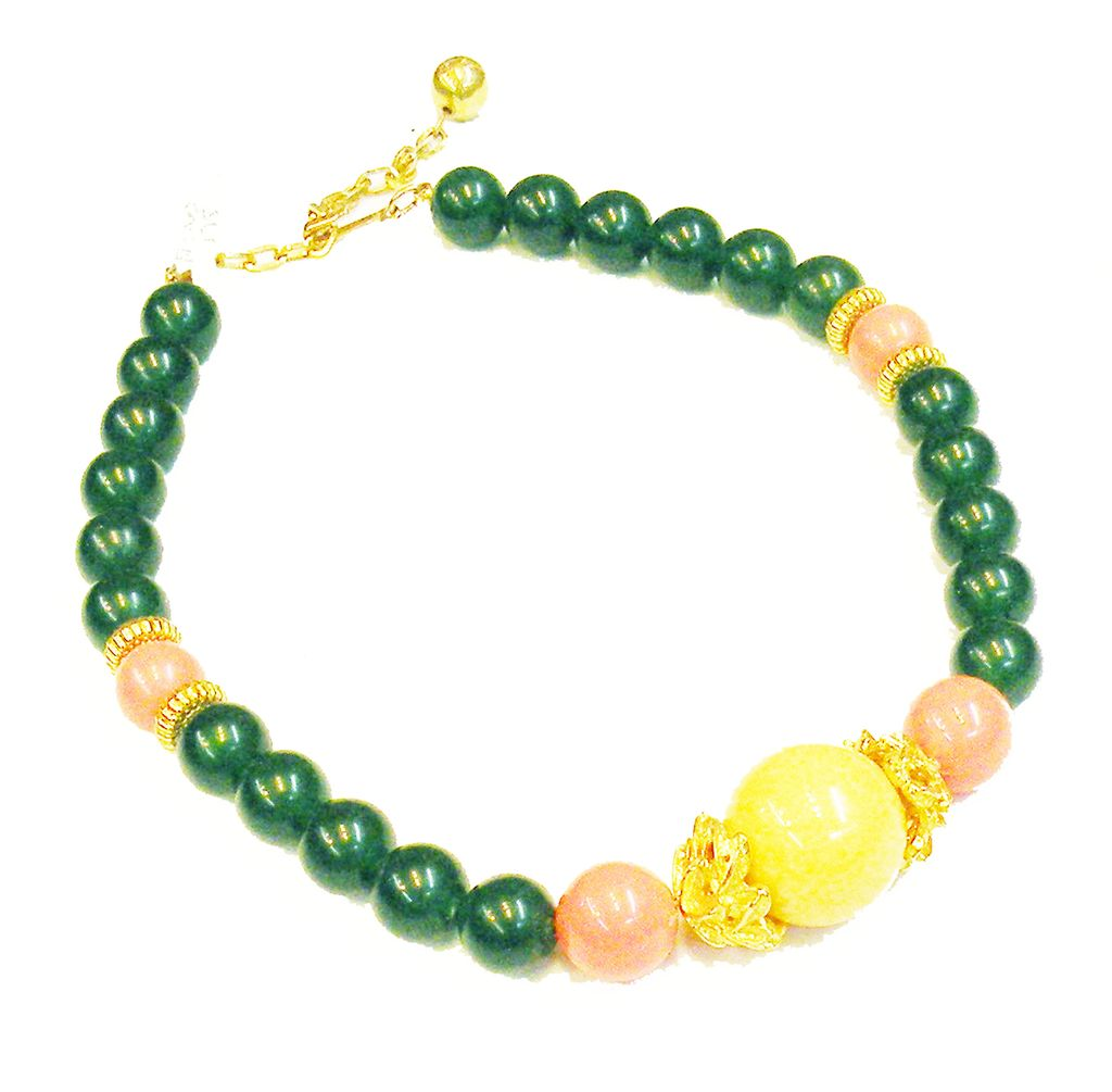 VENDOME Green, Coral and Yellow Beaded Necklace
