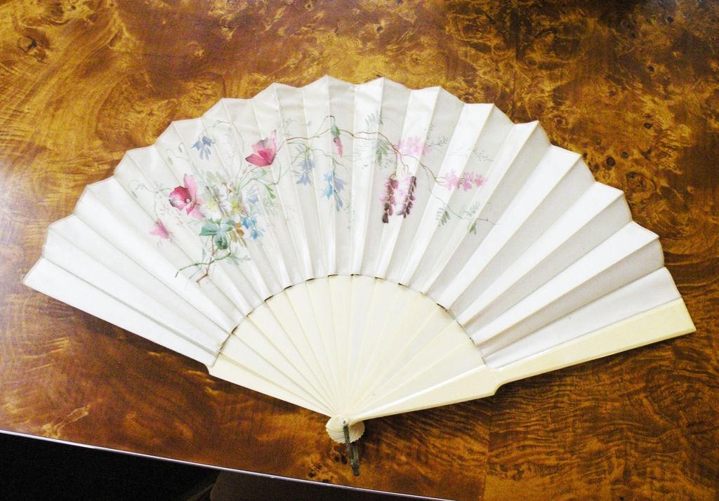 Antique French Floral Hand Painted Pois de Sois Silk Fan with Bone Handle