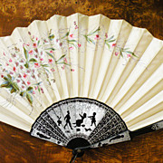 Antique French Hand Painted Pois de Sois Silk Fan with Black Figural Handle