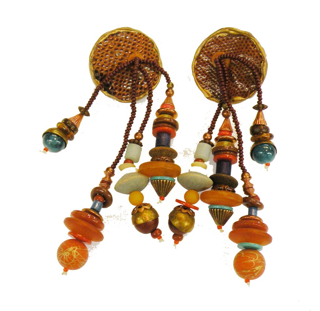Funky 1970s Dangling Mixed Media Earrings