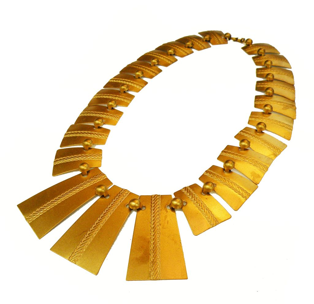 1940s Industrial Deco Architectural Long Link Wafer Necklace