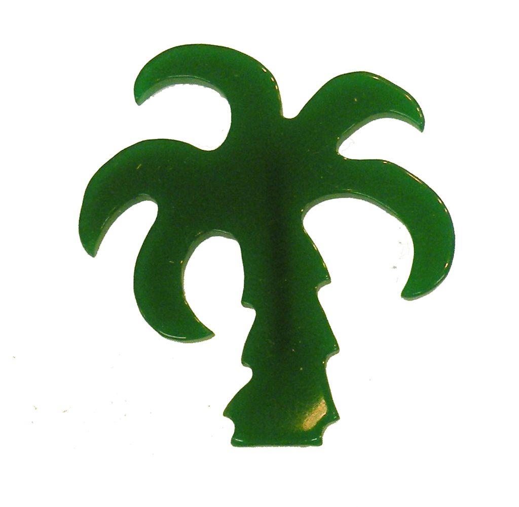 Vintage Green Plastic Palm Tree Brooch