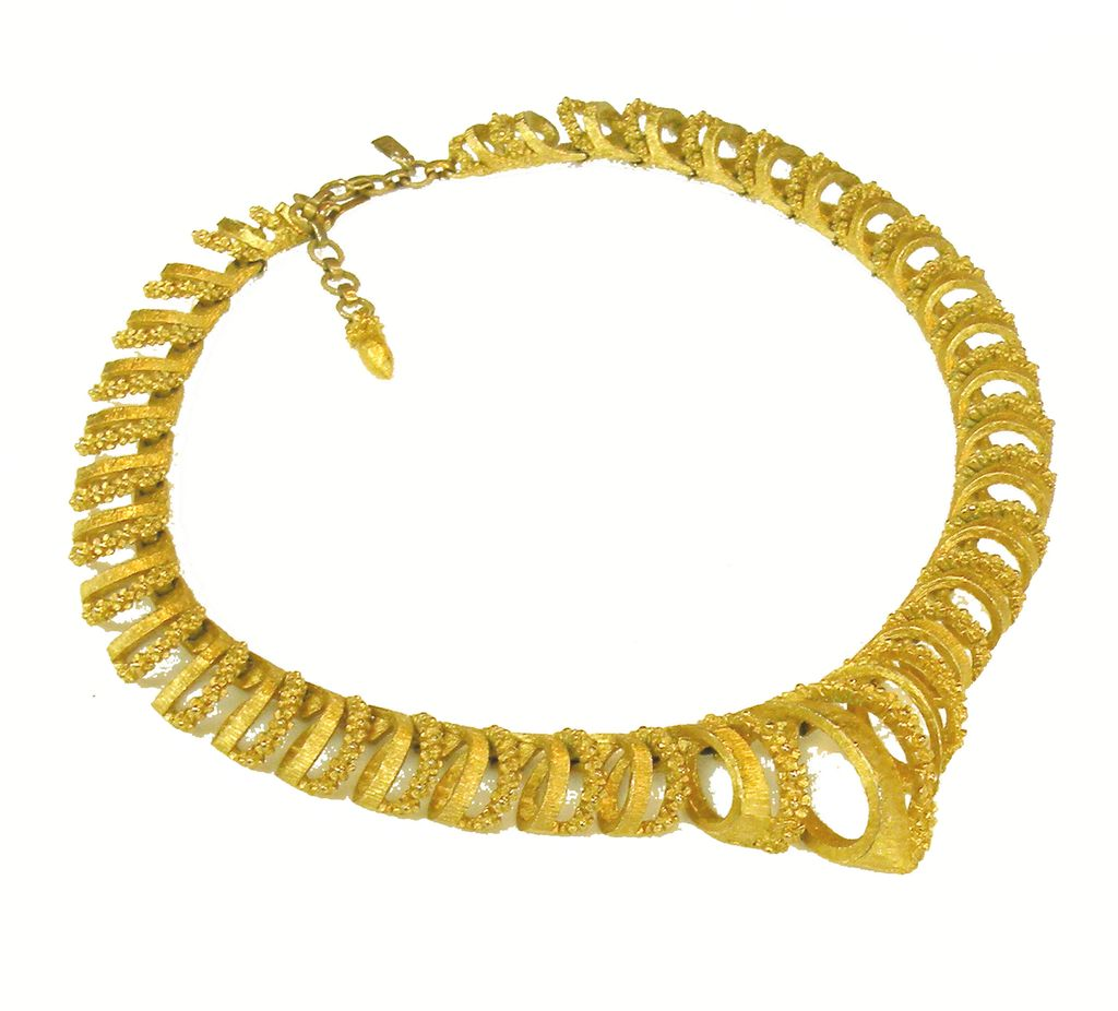 MONET Textured and Dimensional Curly Que Design Shaped Necklace