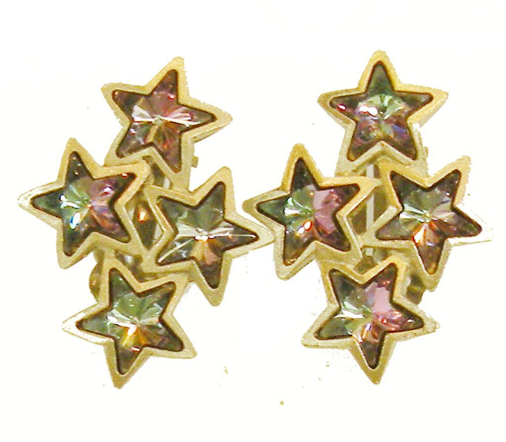 1985 Signed MF Iridescent Purple Blue Shooting Star Earrings