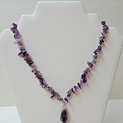 Amethyst Pendant Necklace.  Beautiful.  Mint condition.