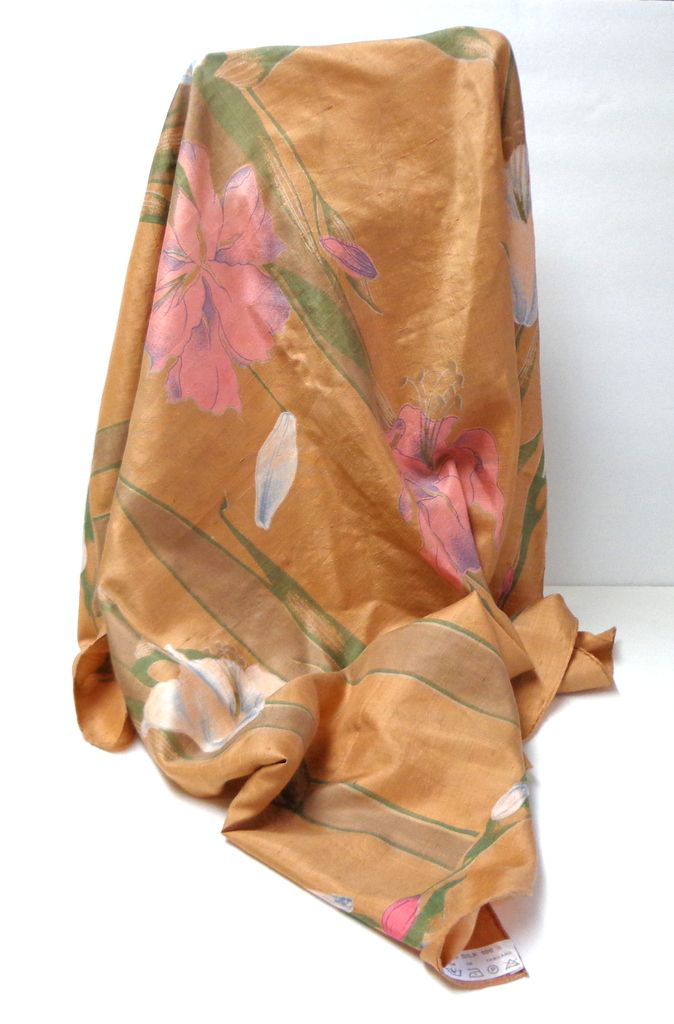 100% Thai Silk Scarf.  Florals on Pale Terracotta.  Magnificent.  Mint Condition.