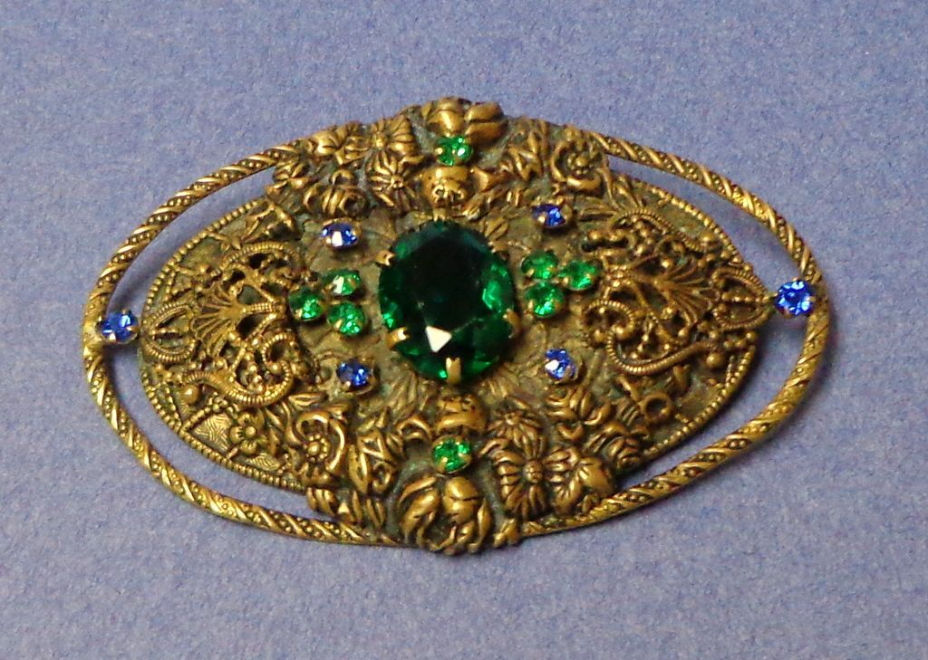 """Czech Brooch.  Very Large 3"""" x 2"""".  Very Old.  Blue & Green Stones & Filigree.  Mint Condition."""
