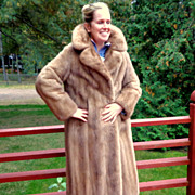 Full-length Mink Coat.  Natural Honey Brown.  Size Small / Medium.  Perfect condition.