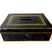 Tin Cash Box with Inserts & Key.  Very, Very Old. Black & Gold.